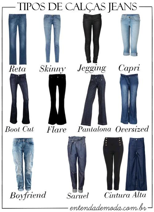 tipos de calças jeans